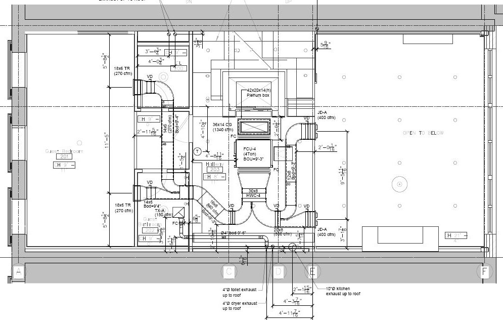 Hvac mechanical drawings for 2d building drawing