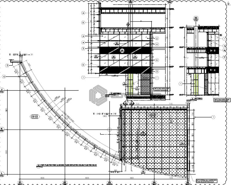 Curtain wall 2D Drafting