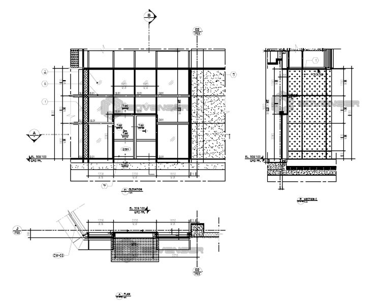 Curtain wall  2d drafting services