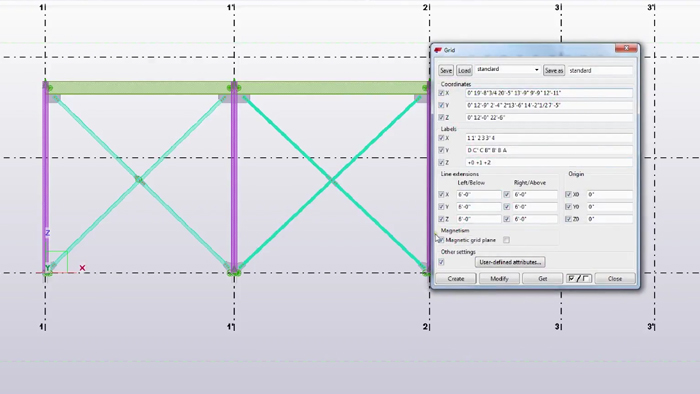 How to use Magnetic Grid Plane Property in Tekla Modeling?