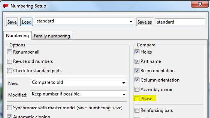 "Tekla (V2018)'s latest Changes in ""Numbering settings"""