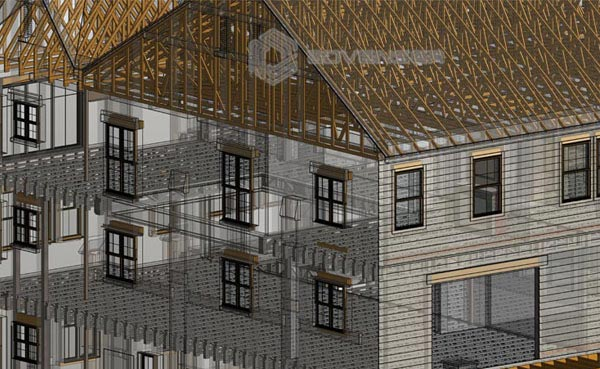 structural BIM model of a residential building
