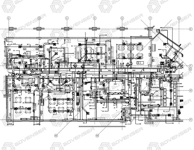 HVAC and plumbing shop drawing