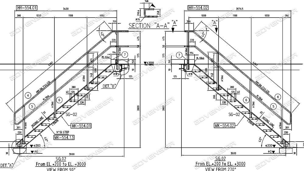 steel stair shop drawings