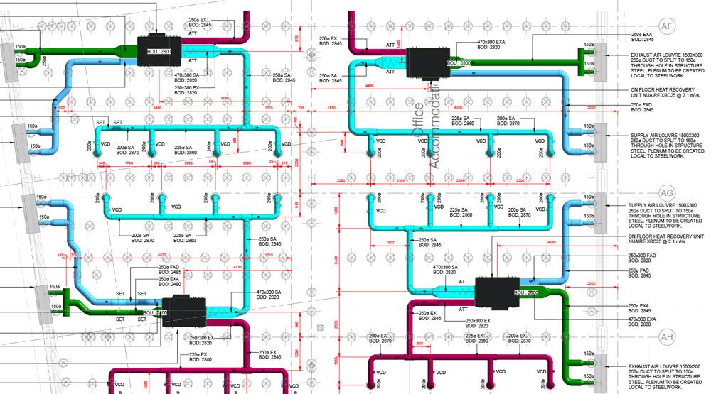 HVAC duct shop drawings